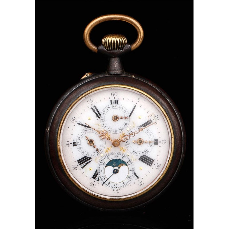 Magnífico Reloj de Bolsillo Antiguo con Calendario y Fases Lunares. Suiza, Circa 1900
