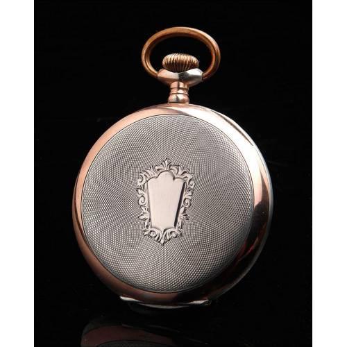 Elegante Reloj de Bolsillo de Plata Maciza en Excelente Estado. Suiza, Circa 1915