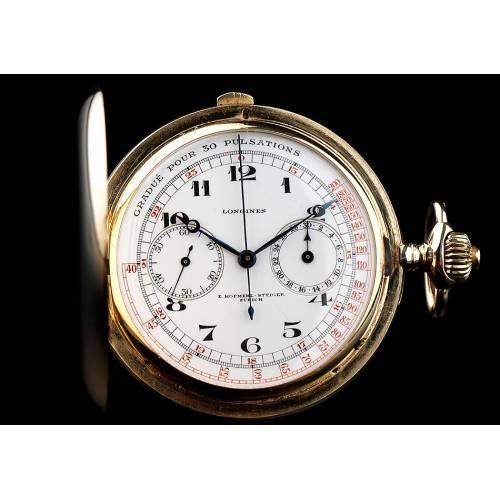 Impresionante Reloj de Bolsillo Longines en Oro Macizo de 14 K. Uso Médico. Suiza, Circa 1900