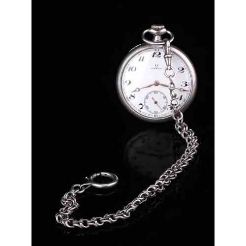 Bella Cadena de Reloj de Bolsillo en Plata Maciza. Siglo XIX
