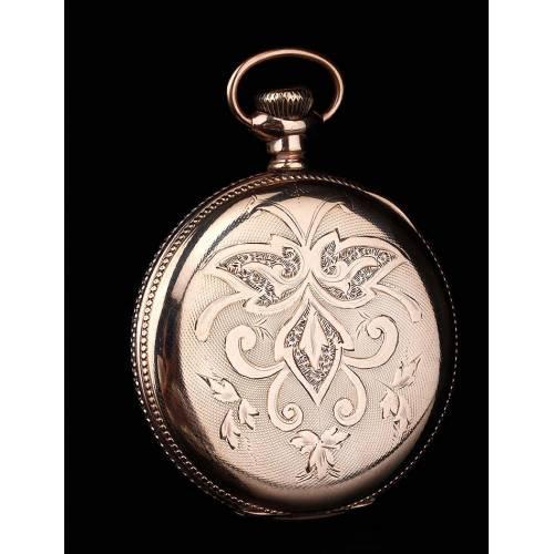 Fantástico Reloj de Bolsillo Elgin Chapado en Oro. Estados Unidos, 1900