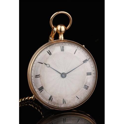 Precioso Reloj de Bolsillo de Oro de 18K con Sonería a Cuartos. Francia, Circa 1830