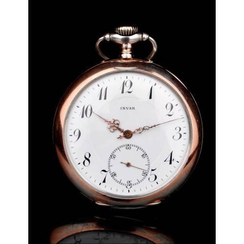 Raro Reloj de Bolsillo Invar de Plata Maciza y Funcionando. Suiza, 1915