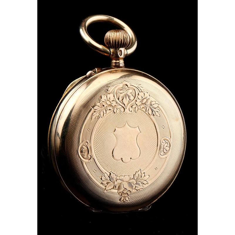 Antiguo Reloj de Señora en Oro Macizo de 14 K. Suiza, Circa 1910