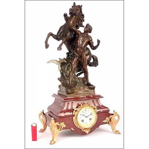 Espectacular reloj de péndulo francés. 63 cms de altura. 1870