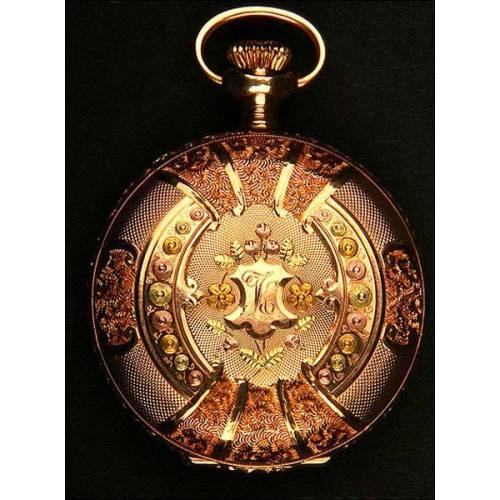 Espectacular reloj de bolsillo antiguo en oro macizo de 3 colores. Tres tapas. 1897