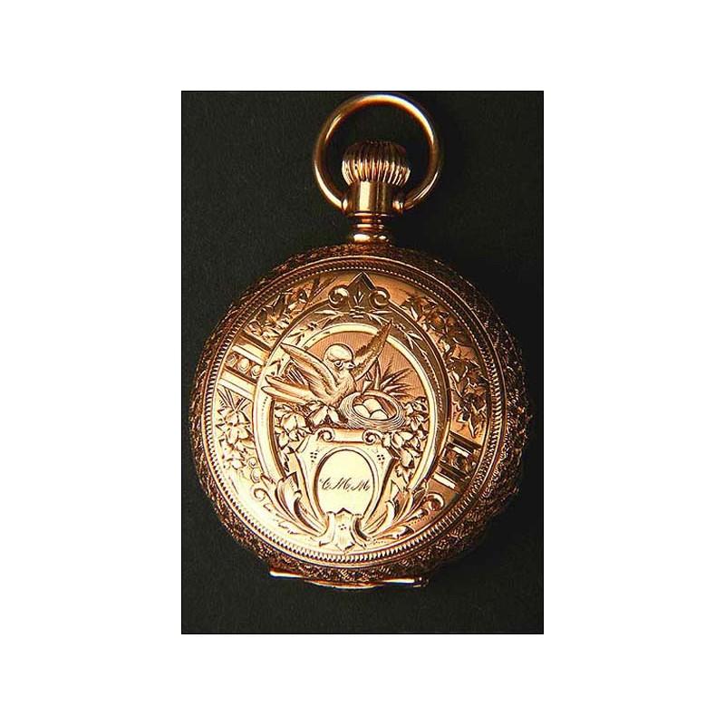 Precioso reloj de bolsillo en Oro macizo. Tres tapas. 1888