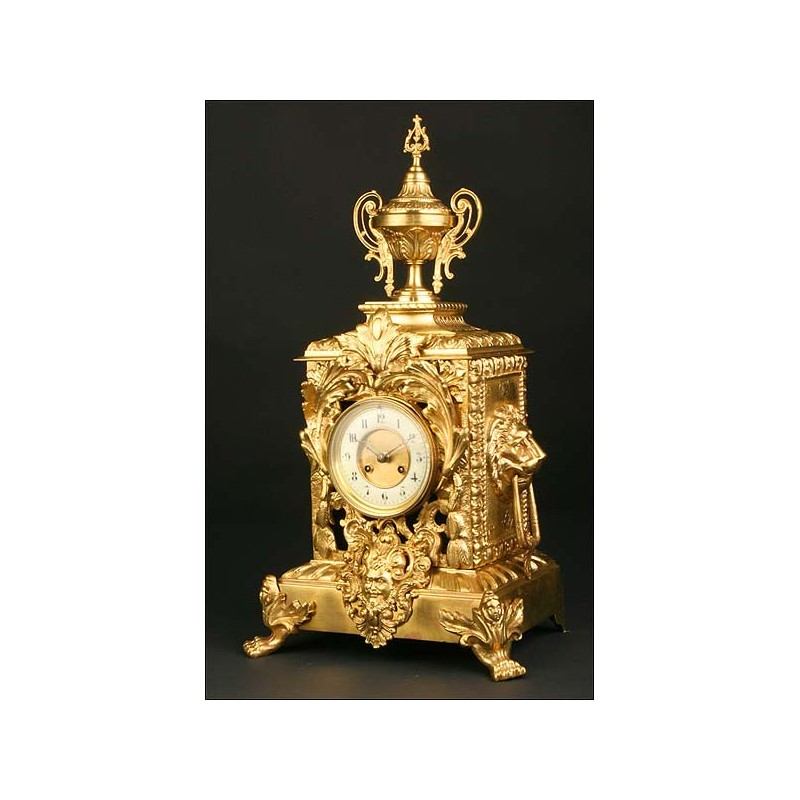 Fantástico Reloj de sobremesa Francés. Bronce. 1880