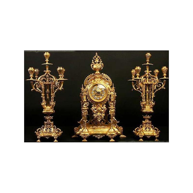 Reloj de sobremesa antiguo + guarnición de candelabros. 1870