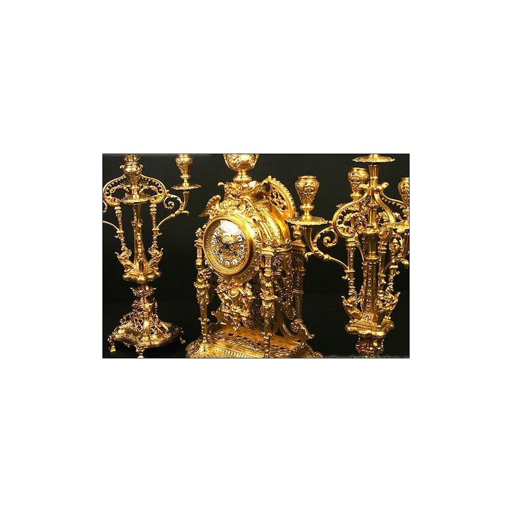 Reloj de sobremesa antiguo guarnici n de candelabros 1870 - Relojes de sobremesa antiguos ...