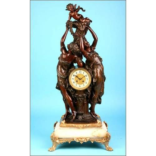 Importante reloj de sobremesa con sonería. 94 cms. 1855