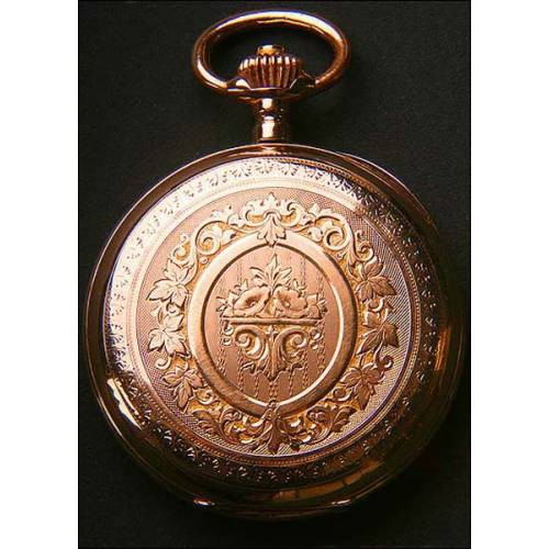 Reloj de bolsillo en oro macizo. Tres tapas. 55 mm. 18 rubíes. 1860
