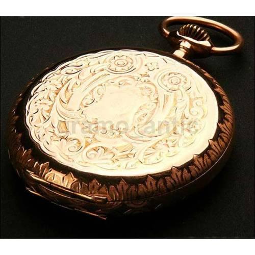 Reloj de bolsillo en oro macizo. 1898. Tres tapas. 51 mm
