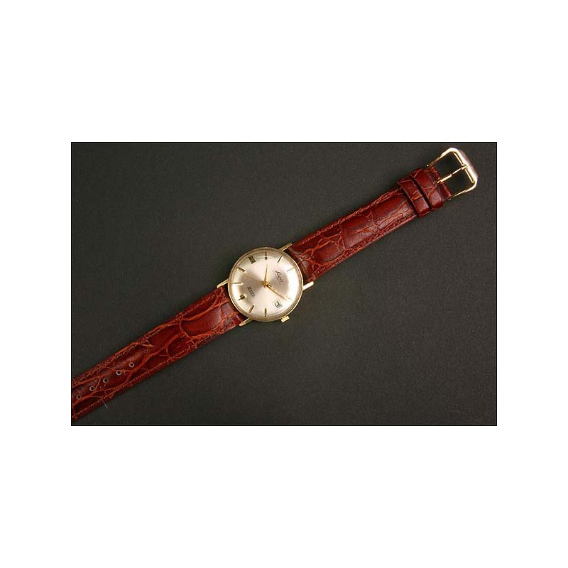 Reloj de pulsera Leca. 1965. Oro 14K. Automático