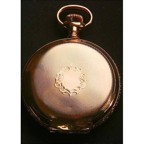Magnífico reloj de bolsillo en oro macizo. Firmado. Tres tapas. 1884