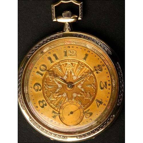 Reloj suizo de bolsillo en oro macizo. 17 rubís. 47 cms. 1923