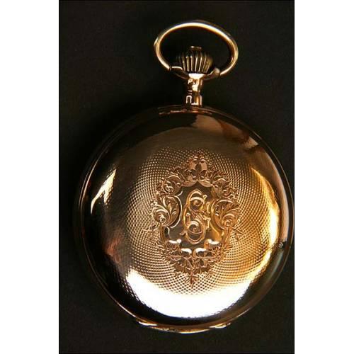 Reloj de bolsillo en oro macizo. Esfera erótica con autómata. 50 mm. 1890