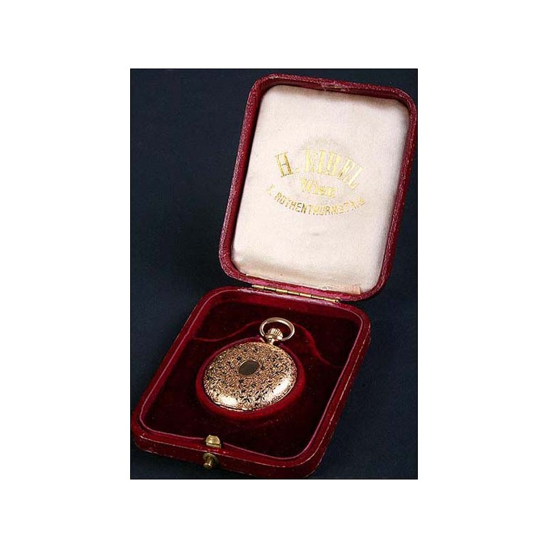 Excepcional reloj de bolsillo en oro macizo y esmalte. 15 rubís. 1860