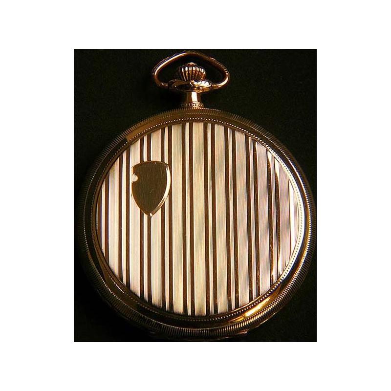 Reloj suizo de bolsillo picaresco en oro macizo. 1910. Catalogado