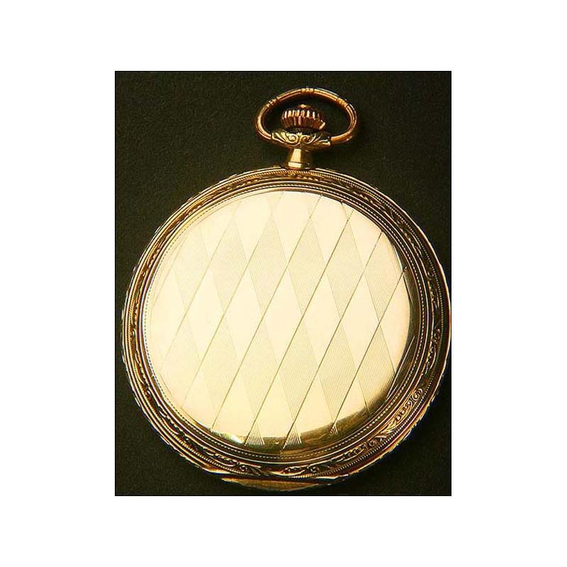 Reloj de bolsillo Tissot en oro macizo. 1920. Tres tapas. 51 mm