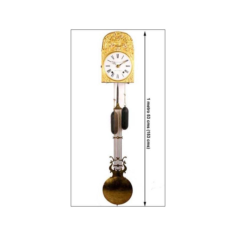 Magnífico reloj tipo Morez. Funcionando. Firmado. 153 cms. 1890