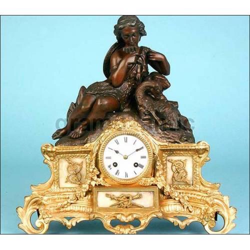 Antiguo reloj francés de sobremesa. Firmado Félix Morel, París. Circa 1860