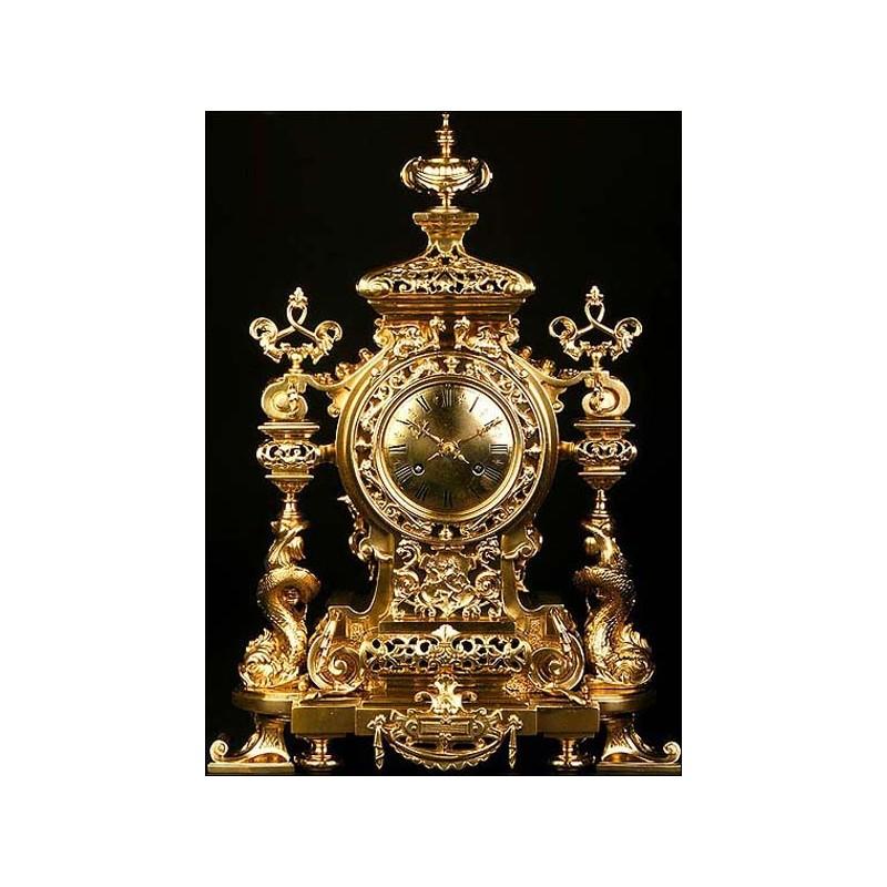 Reloj francés de sobremesa del s. XIX. Dragones