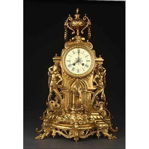 Impresionante Reloj de Sobremesa de Bronce. Francia, Circa 1890. En Perfecto Estado y Funcionando