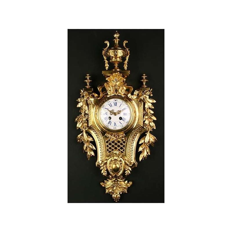 Reloj de pared en bronce. Sonería. 1880