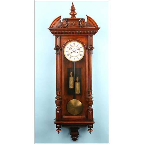 Reloj de pared Viena. Dos pesas. Sonería. 1880