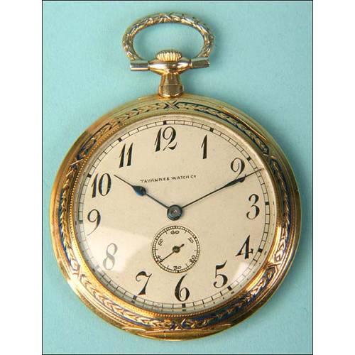 Reloj de bolsillo Tavannes. Oro macizo. 1915