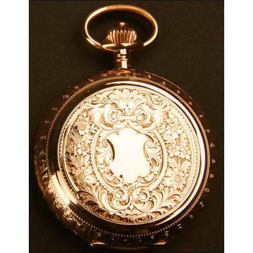 Reloj de bolsillo savonette en oro macizo, 53mm y 104gr.