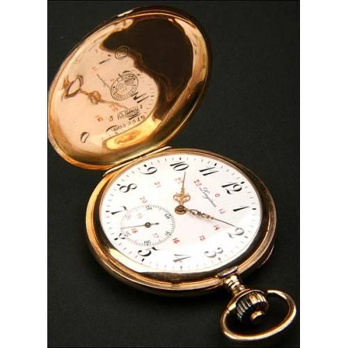 Reloj de bolsillo Longines en oro macizo, savonette.50mm.