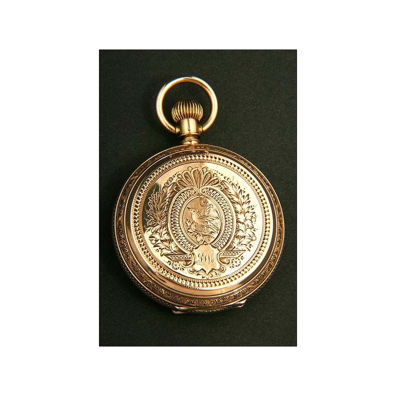 Reloj de bolsillo Eureka en oro macizo de 14K. 1881