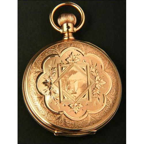 Precioso reloj de bolsillo Waltham. 1914. Oro macizo de 14K