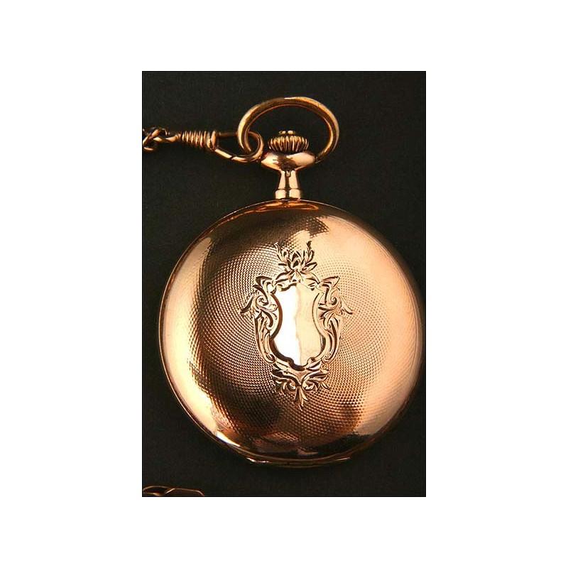 Reloj de bolsillo Philadelfia. 1876. Oro macizo de 14K.