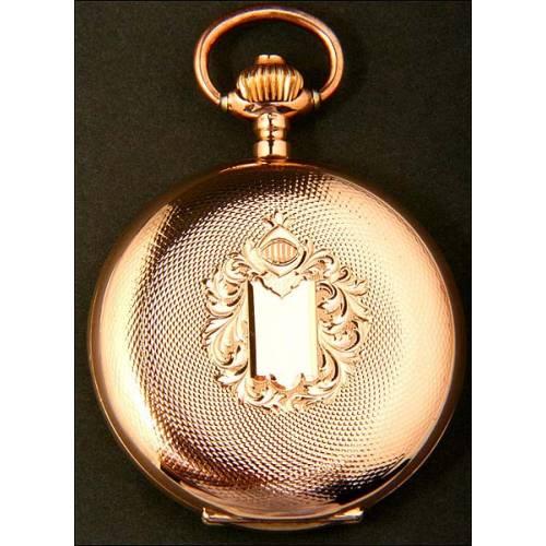 Reloj de bolsillo en oro macizo de 14K. 1900-1910.