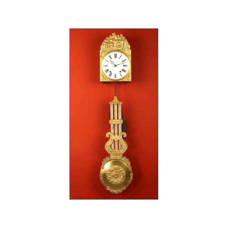 Reloj de Pared Morez con Raro Péndulo de Varillas. S. XIX