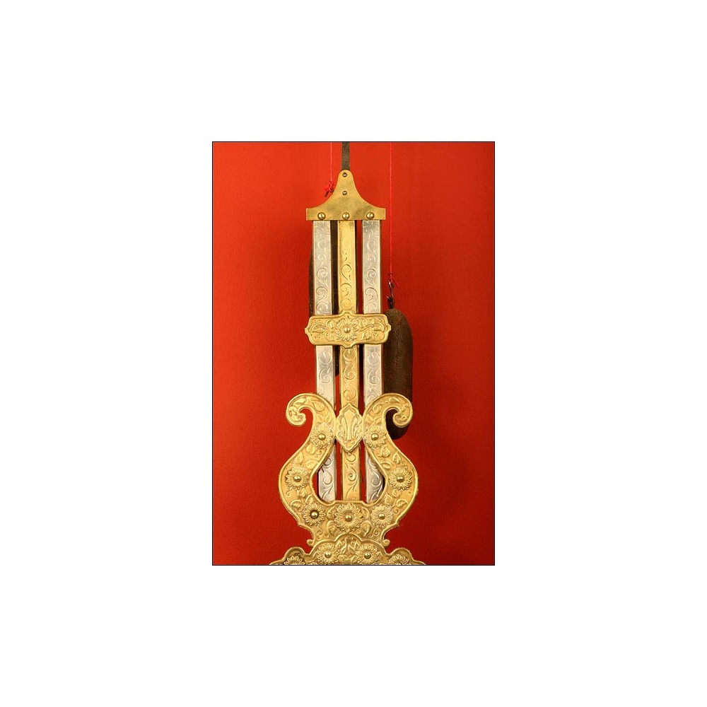 Reloj de pared morez con raro p ndulo de varillas s xix for Relojes de pared antiguos de pendulo