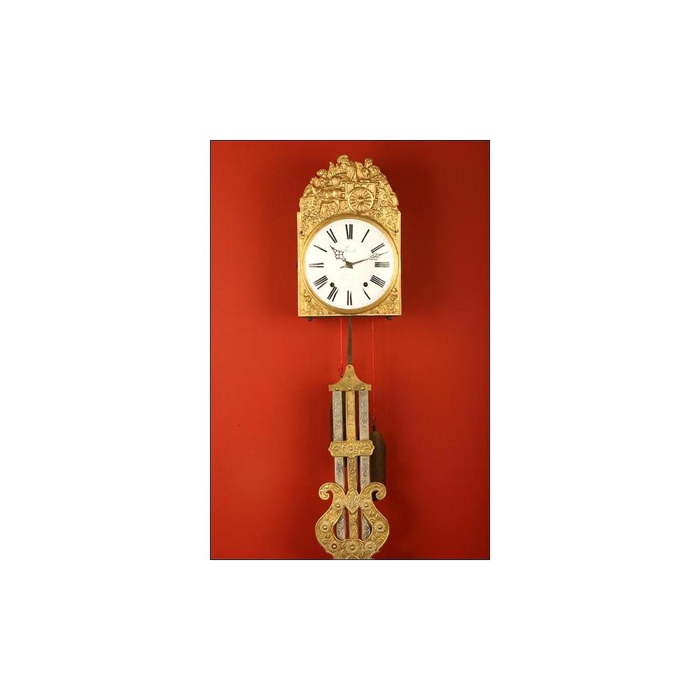 Reloj de pared morez con raro p ndulo de varillas s xix for Reloj de pared con pendulo