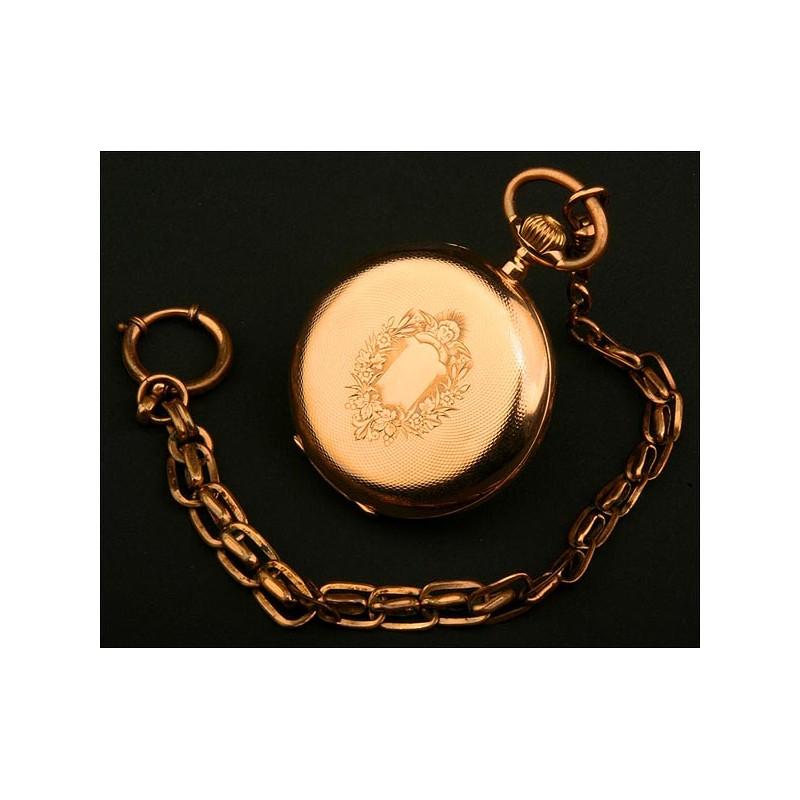 Reloj Saboneta, Suiza, Oro Macizo, de Alrededor del Año 1880