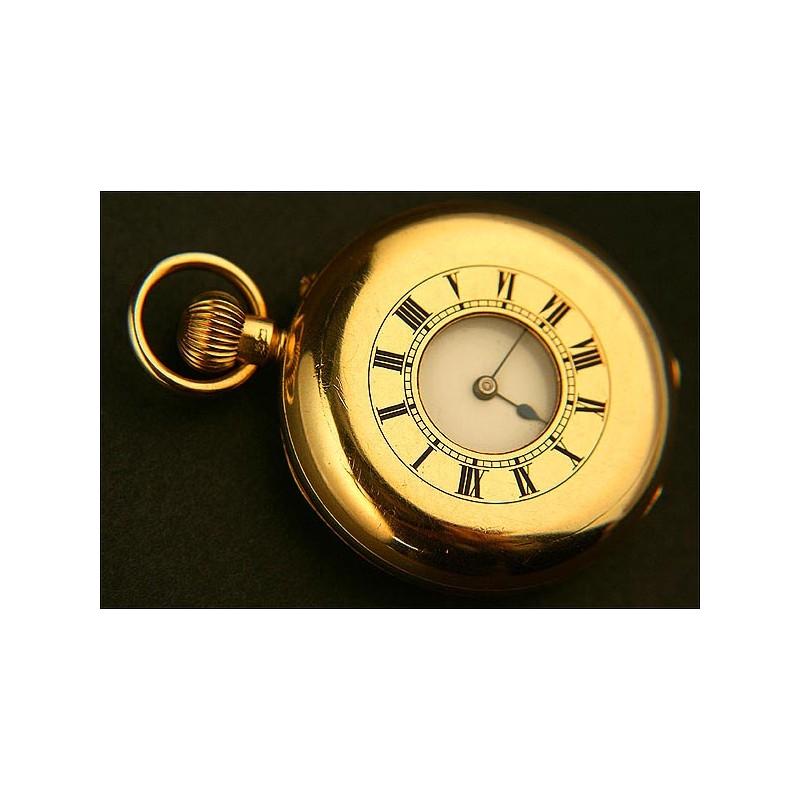 Reloj de Bolsillo Saboneta, Cazador, Oro Macizo de 18K, Año 1880