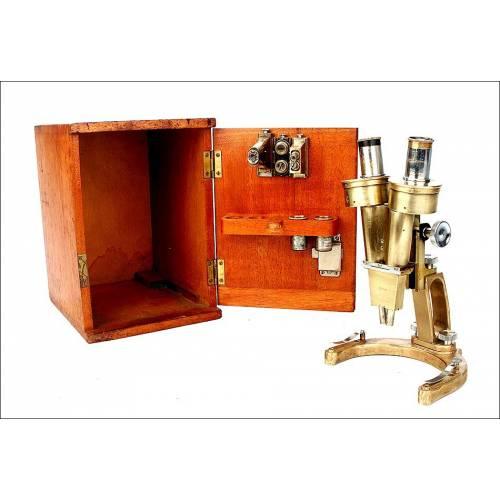Antiguo Microscopio Lupa Binocular R & J Beck para Disecciones. Inglaterra, 1920