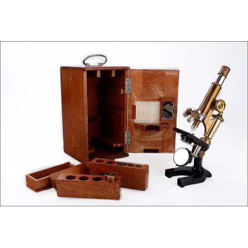 Precioso Microscopio Antiguo E. Leitz Wetzlar en Funcionamiento. Alemania, 1903