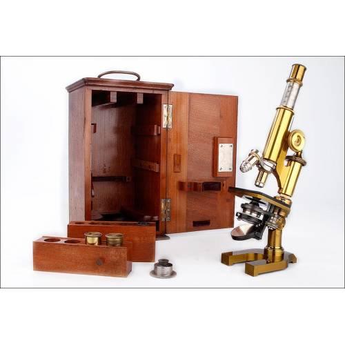 Fantástico Microscopio Antiguo E. Leitz Wetzlar con Estuche Original. Nueva York, 1895