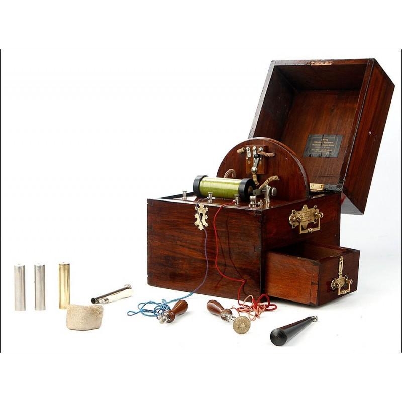 Antiguo Aparato de Electromedicina en Muy Buenas Condiciones. Inglaterra, Circa 1900