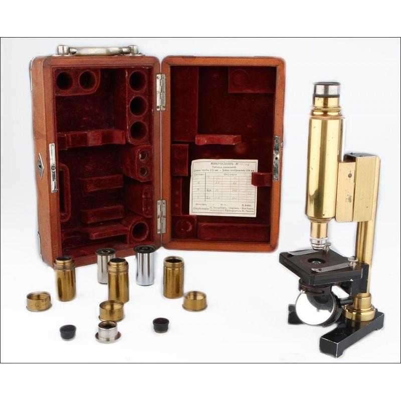 Raro Microscopio Plegable Leitz Para El Mercado Ruso. Alemania, 1914