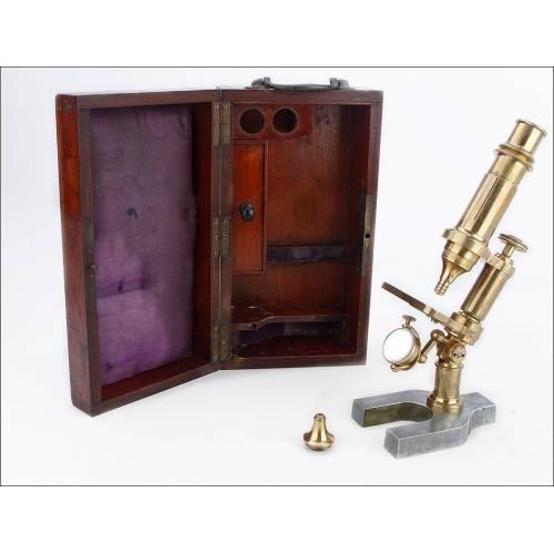 Antiguo Microscopio Monocular E. Hartnack et Cie. Francia, 1865