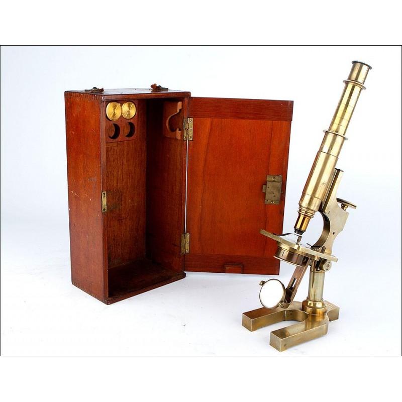 Microscopio Antiguo Watson & Sons en su Estuche Original y Funcionando. Inglaterra, 1885