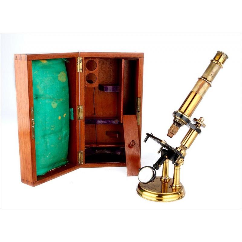 Impresionante Microscopio Antiguo Fabricado por Constant Verick. Francia, 1880